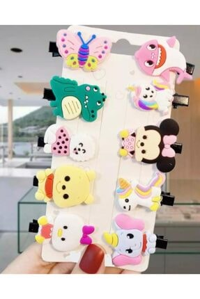 QUEEN AKSESUAR Kız Çocuk Pembe Minnie Hayvanlı Kelebekli Mini Toka Seti