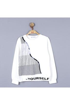 NK Kız Çocuk Su Dalgası Kışlık Taşlı Sweat Bluz
