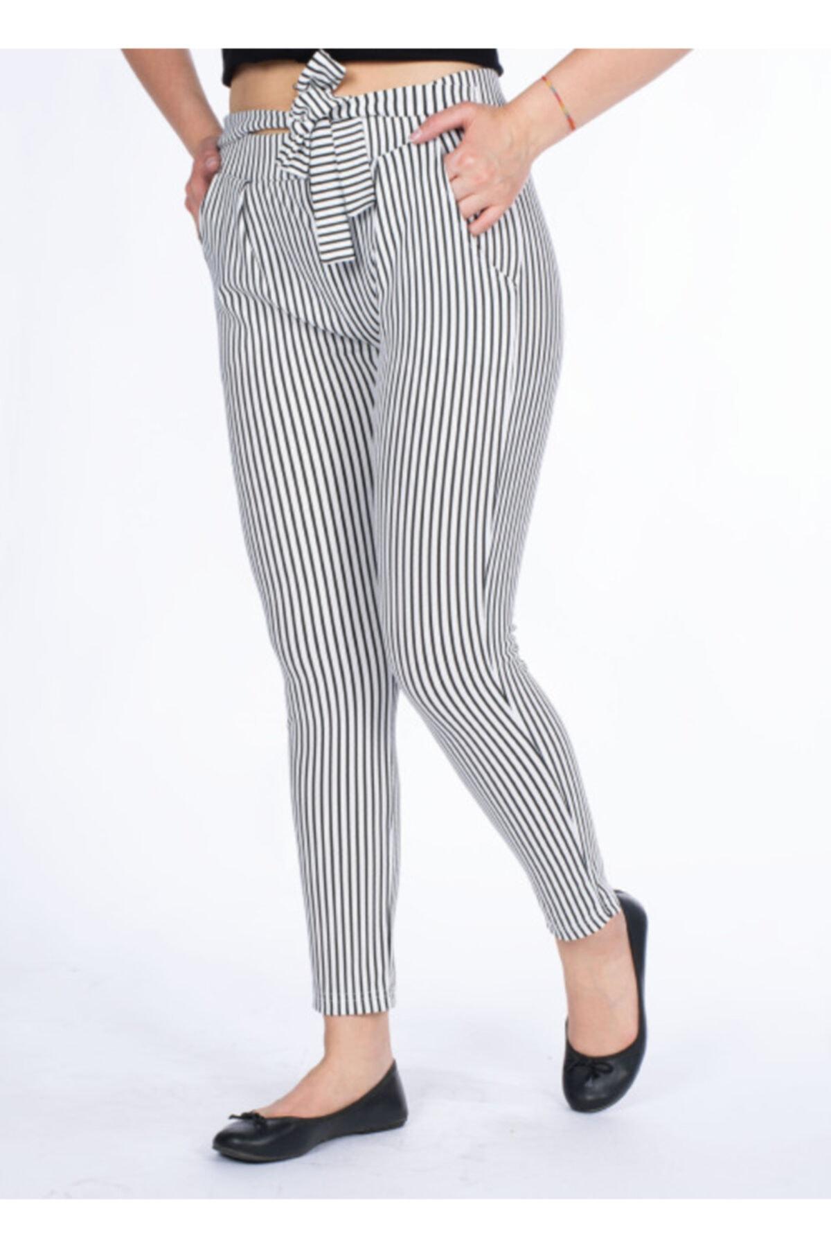 Vision Kadın Beyaz Çizgili Pantolon 1