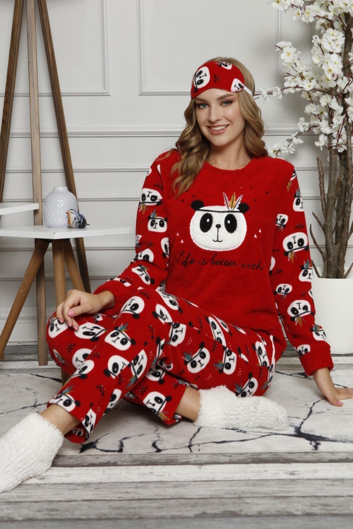 Pijamaevi Life Panda Desenli Kadın Peluş Pijama Takımı 1