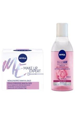 Nivea Make Up Pürüzsüz Nemlendirici Makyaj Bazı 50 ml Micellair Gül Suyu Çift Fazlı Temizleme Suyu 400 ml