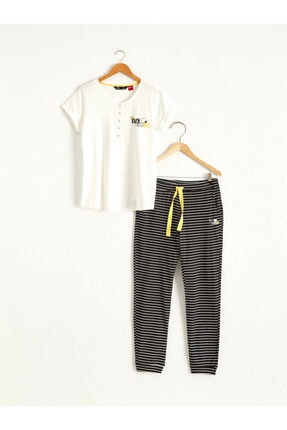 LC Waikiki Snoopy Kadın Siyah Çizgili Leg Pijama Takımı
