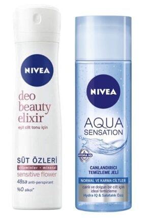 Nivea Deodorant Beauty Elixir Sensitive Flower Kadın Sprey 150 ml  Aqua Sensation Temizleme Jeli 200 ml