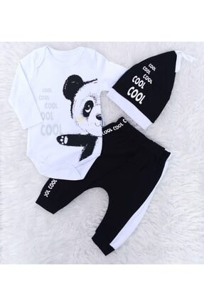 Miniworld Erkek Bebek Beyaz Panda Desenli Cool Şapkalı 3'lü Takım