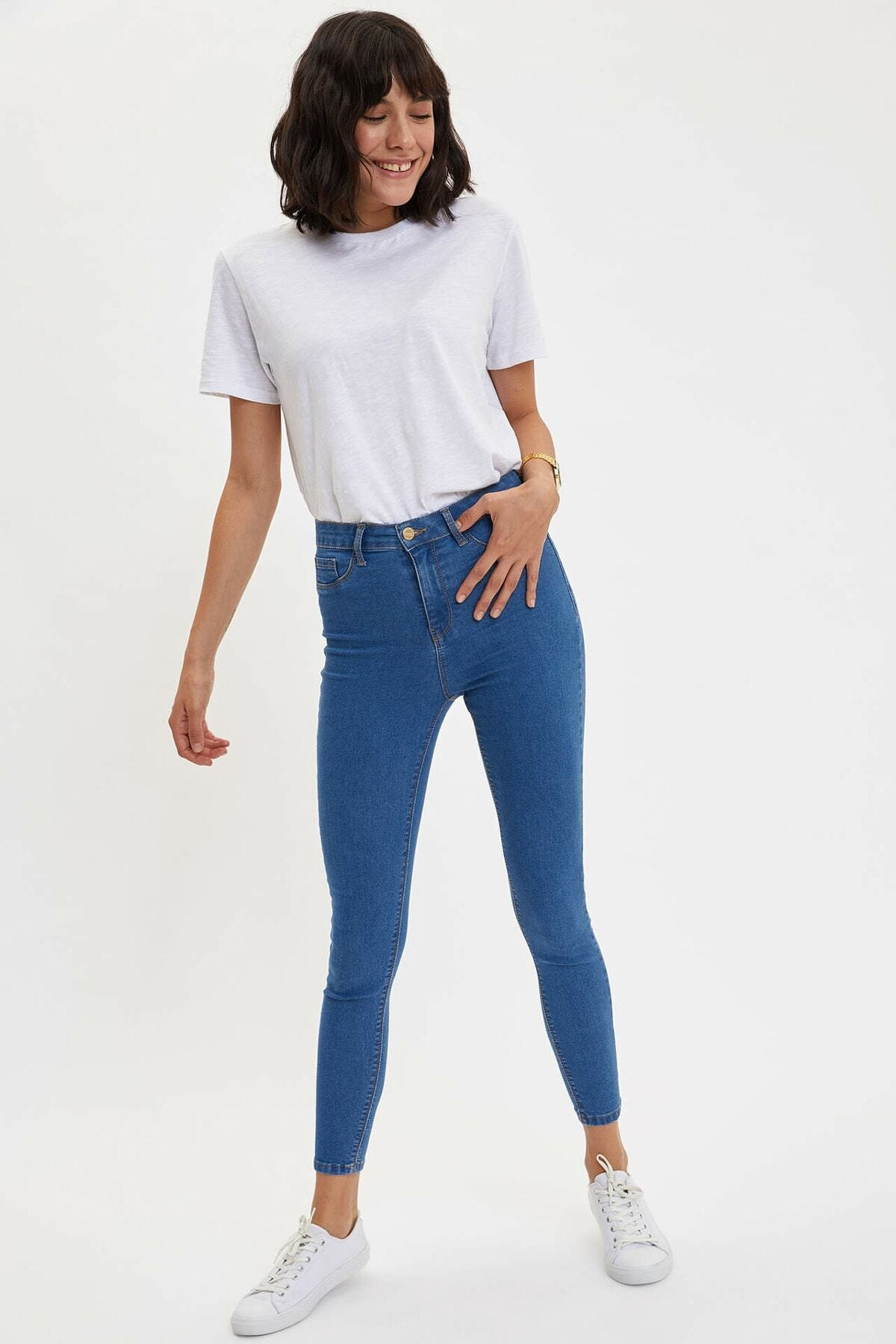 DeFacto Kadın Mavi Kot Anna Yüksek Bel Super Skinny Jean Pantolon 1
