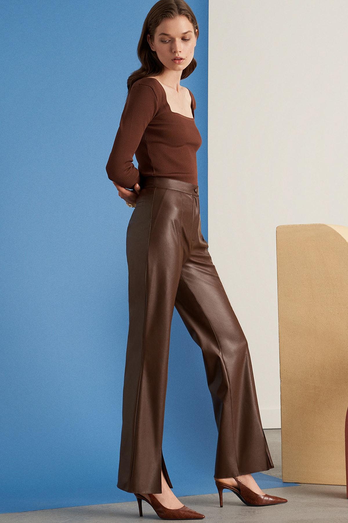 Nocturne Kadın Kahverengi Paçası Yırtmaçlı Deri Pantolon Kadın N21K-3325-0094 2