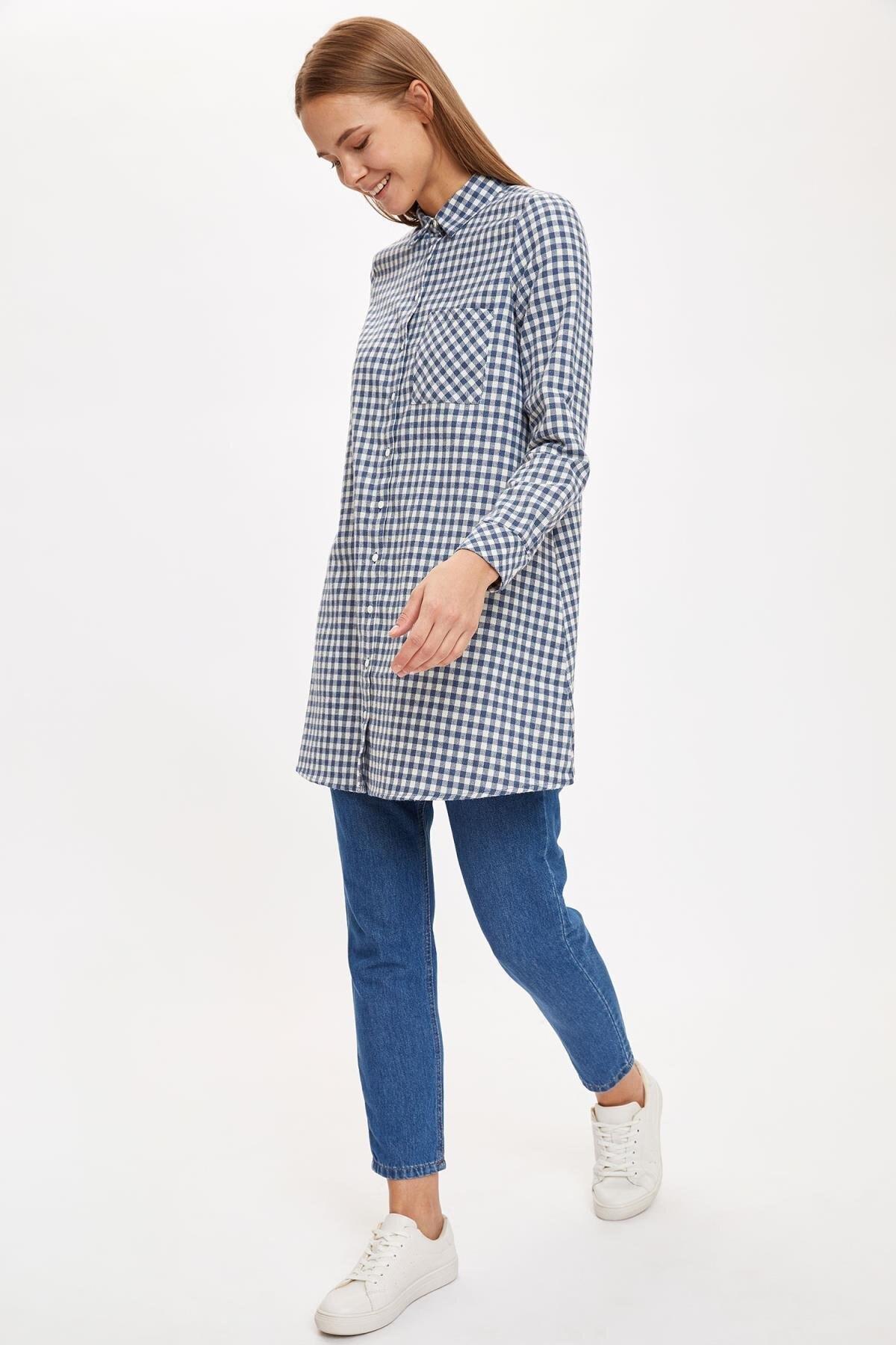 DeFacto Kadın D.Blue Kareli Cep Detaylı Gömlek Tunik T1162AZ20AU