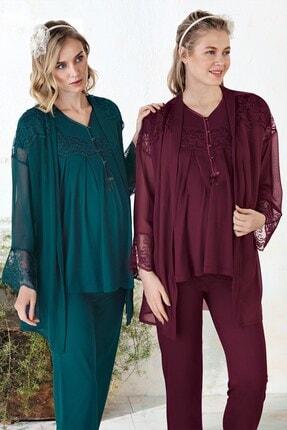 Lohusa Sepeti Kadın Bordo Sabahlıklı Lohusa Pijama Takımı 1160 Rebecca