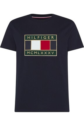 Tommy Hilfiger Kadın Lacivert Global Flag Relaxed Fıt Tee T-Shirt