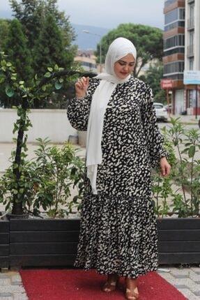NRCN Kadın Siyah Balon Kollu Uzun Tesettür Saten Elbise
