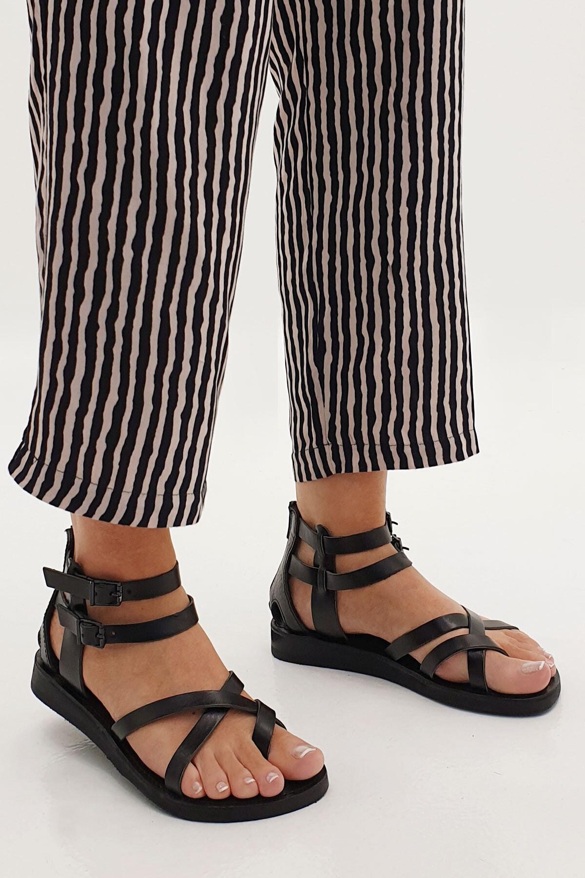 Marjin Kadın Siyah Zelos Hakiki Deri Parmak Arası Sandalet 2