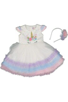 Daisy Kız Çocuk Beyaz Mor Şeker 3 Katlı Renkli Fırfırlı Abiye