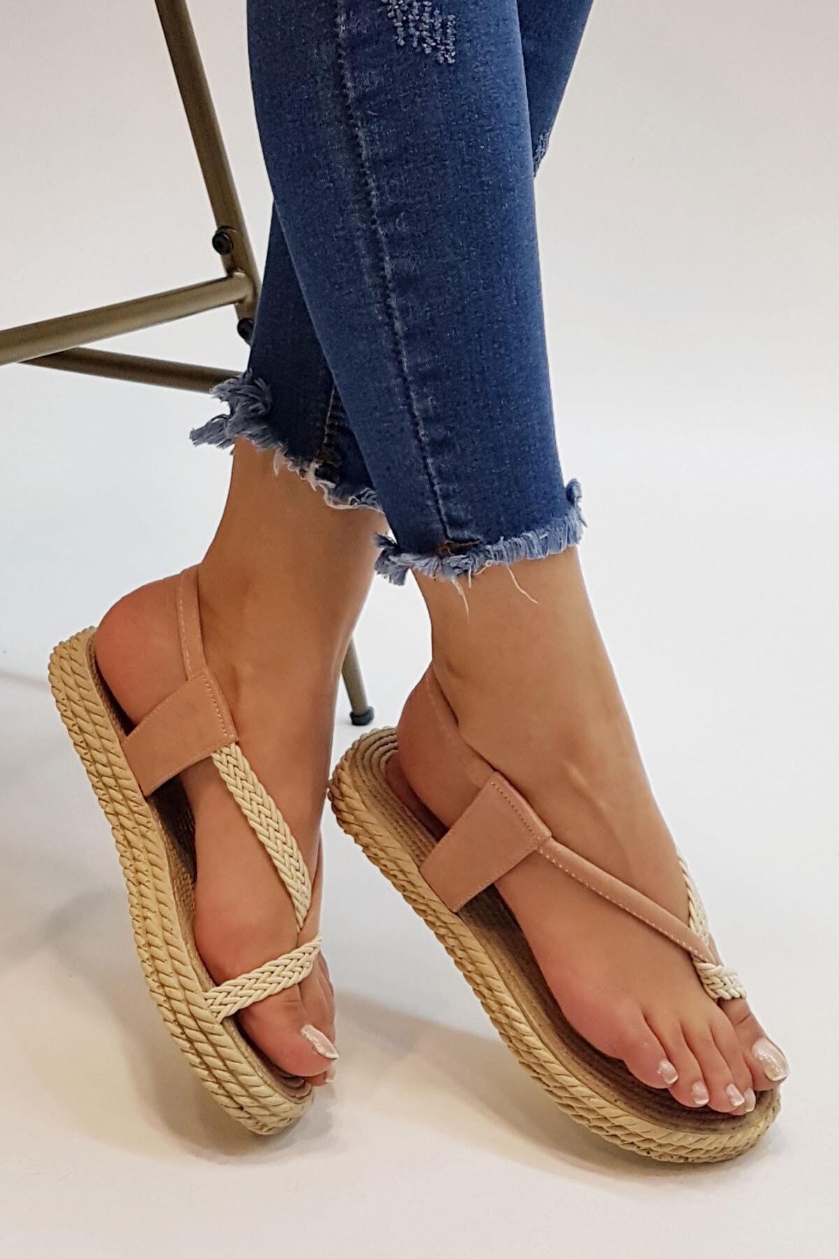 Marjin Kadın Pudra Süet Eylivo Parmak Arası Sandalet 2