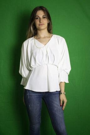 Yare Kadın Beyaz Geniş Kollu Gömlek