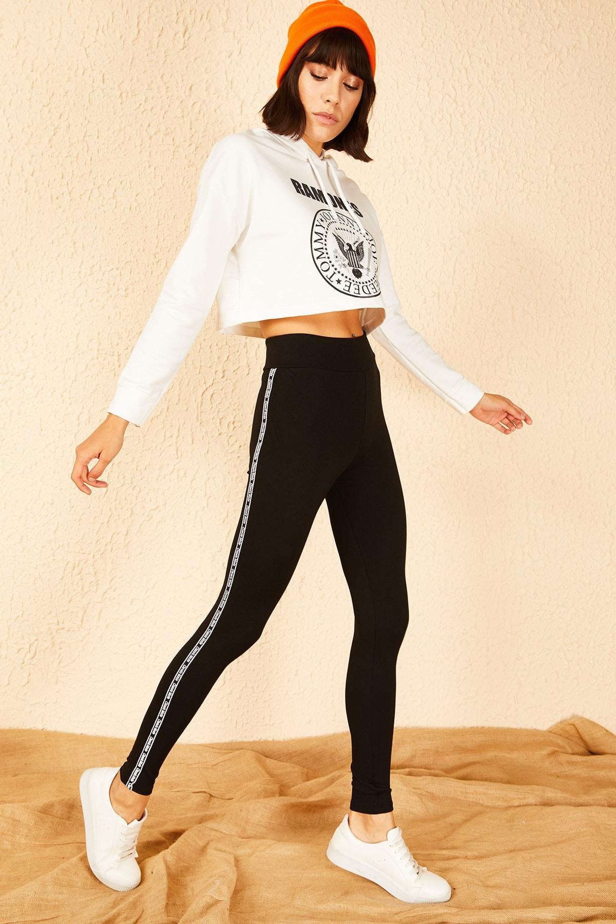 Bianco Lucci Kadın Siyah Yanı Classic Mode Baskılı Şeritli Çelik Örme Tayt 10151021 1