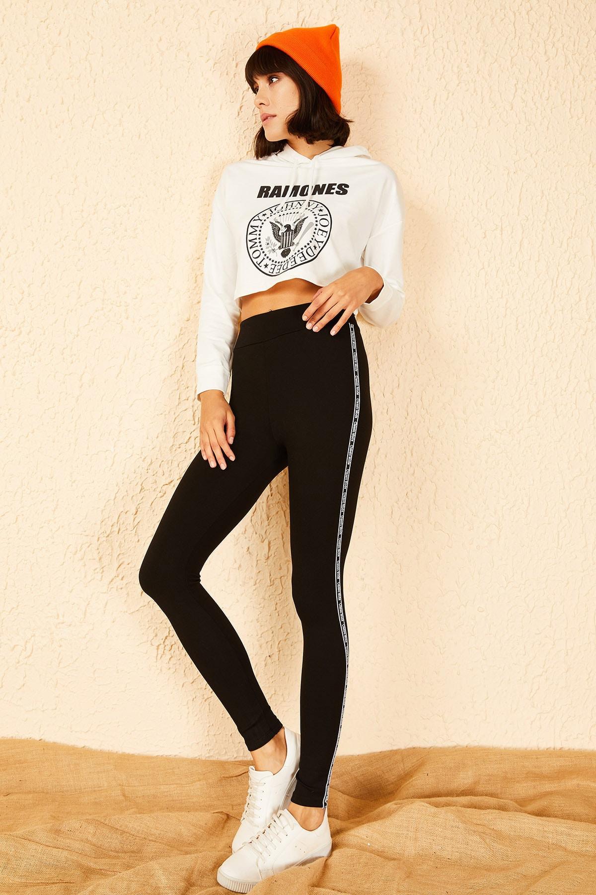 Bianco Lucci Kadın Siyah Yanı Classic Mode Baskılı Şeritli Çelik Örme Tayt 10151021 2
