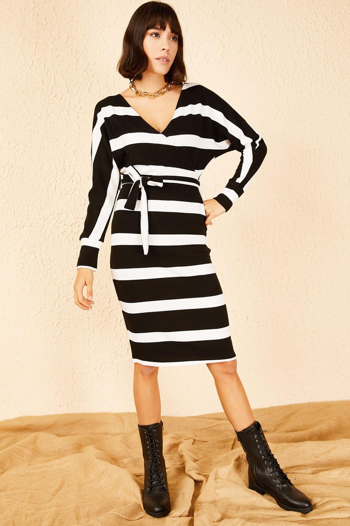 Bianco Lucci Kadın Siyah Beyaz Ön Arka Kruvaze Yaka Akrilik Elbise 10151014