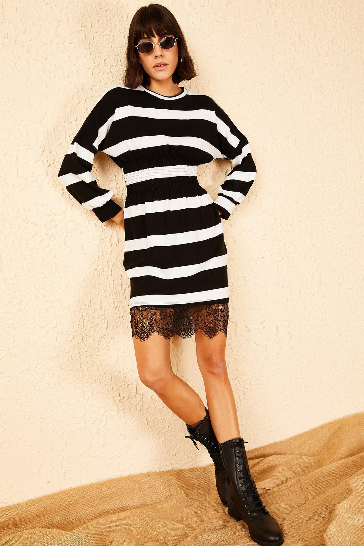 Bianco Lucci Kadın Siyah Beyaz Dantelli Akrilik Çizgili Elbise 10151012