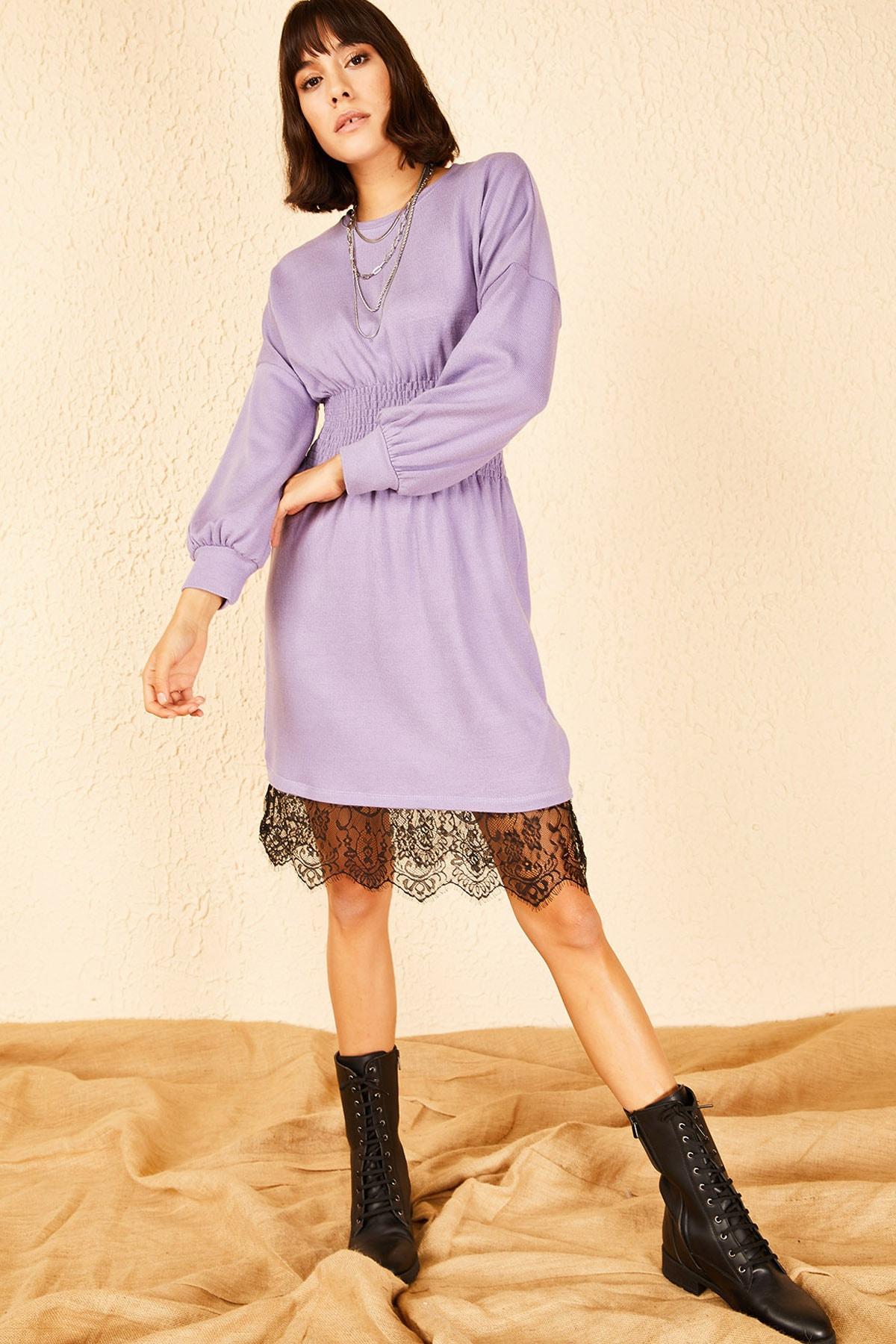 Bianco Lucci Kadın Lila Beli Lastikli Gipeli Eteği Dantelli Elbise 10151011