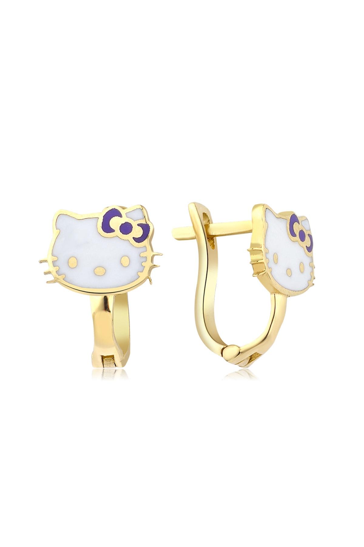 Hello Kitty Lisanslı Kız Çocuk Mor 14 Ayar Altın Küpe 1