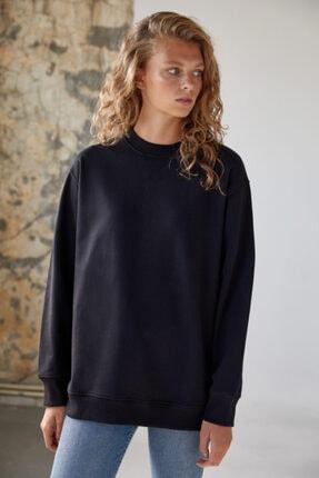 Urban Muse Kadın Siyah Pamuklu Sweatshirt