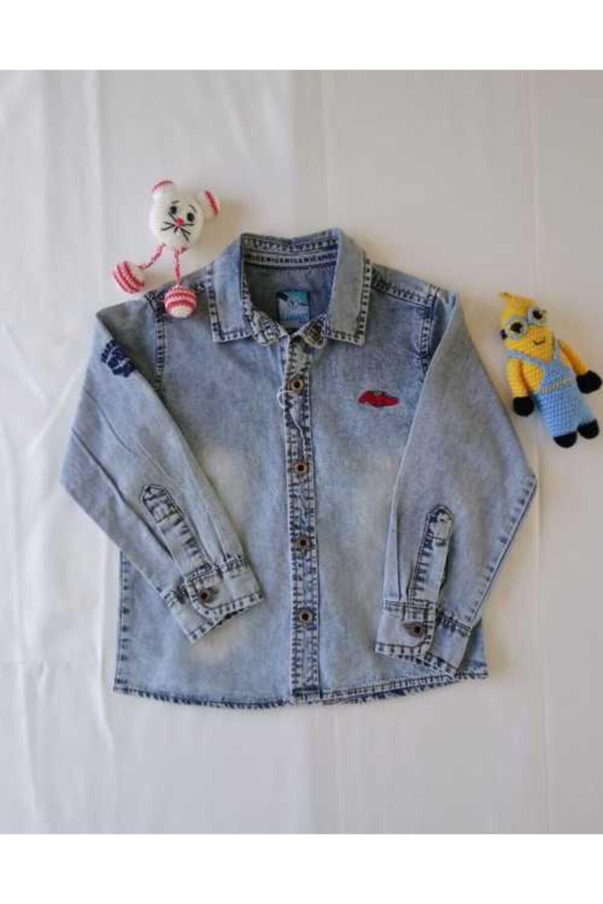 Timo Unisex Çocuk Uzun Kol Roba Nakışlı Kot Gömlek 1