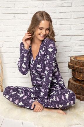 ELİTOL Kadın Desenli Pamuklu Düğmeli Pijama Takim