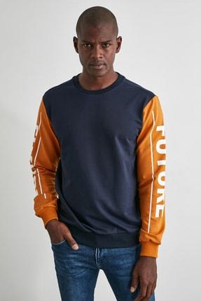 TRENDYOL MAN Lacivert Erkek Baskılı Regular Fit  Sweatshirt TMNAW21SW1113