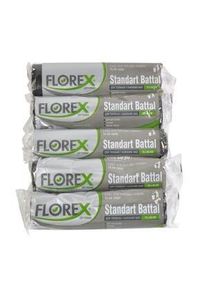 Alflorex Florex Standart Battal Siyah Çöp Torbası 5'li Rulo 72x95