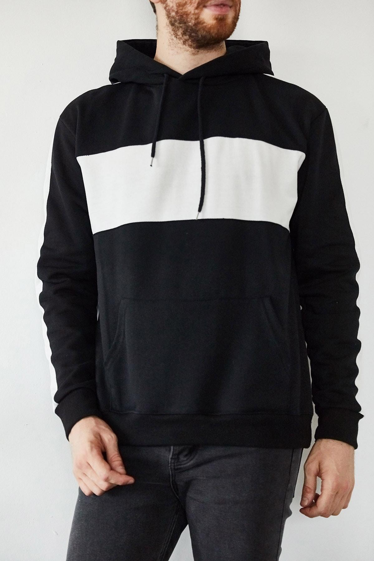 XHAN Erkek Siyah Beyaz Blok Detaylı Kapüşonlu Sweatshirt 1kxe8-44169-02 2