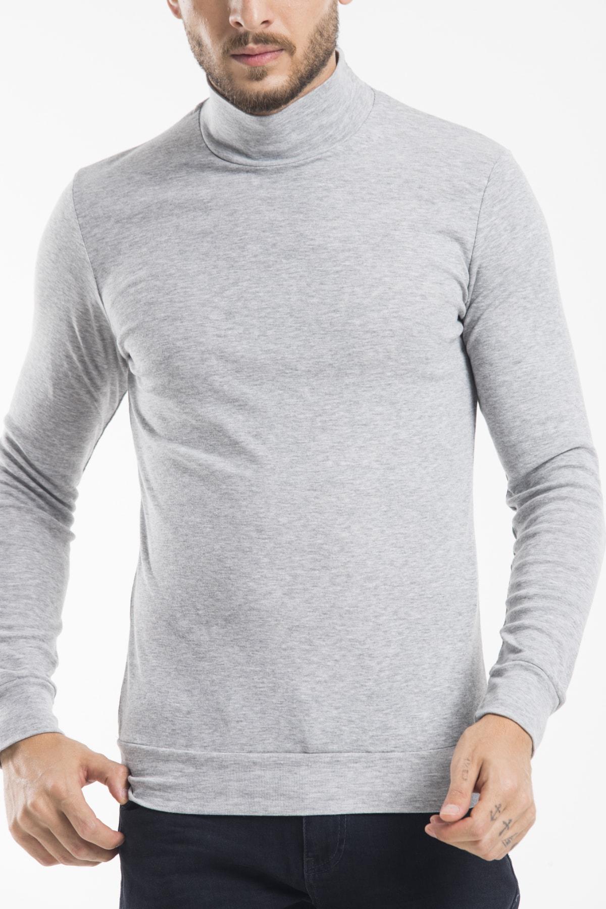 Superlife Grey Melange Yarım Balıkcı Sweatshırt 1