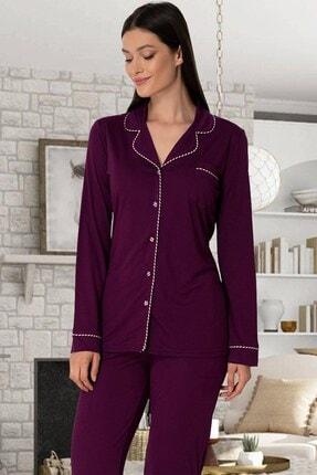 Lohusa Sepeti Kadın Vişne Önden Düğmeli Pijama Takımı