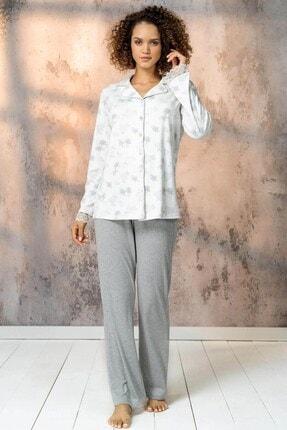 Lohusa Sepeti Kadın Beyaz Desenli Önden Düğmeli Lohusa Pijama Takımı