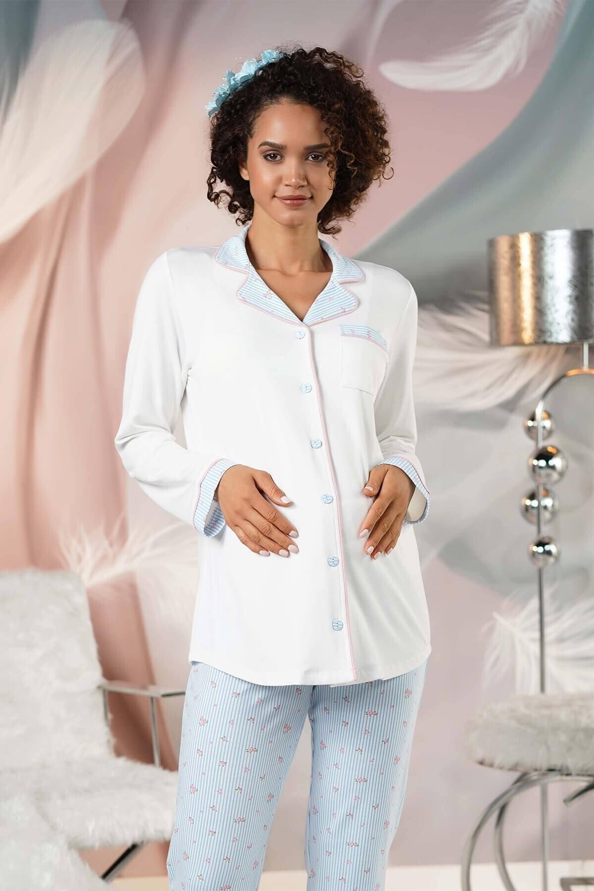 Lohusa Sepeti Kadın Mavi Önden Düğmeli Lohusa Pijama Takımı 1