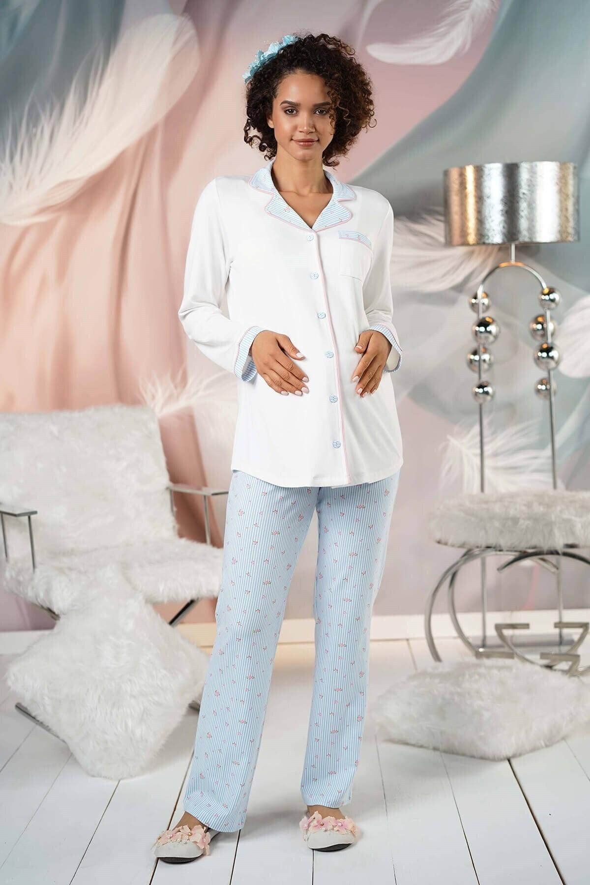 Lohusa Sepeti Kadın Mavi Önden Düğmeli Lohusa Pijama Takımı 2