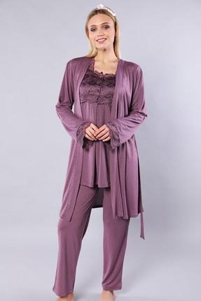 Emose Kadın Mürdüm Lohusa Sabahlıklı Pijama Takım