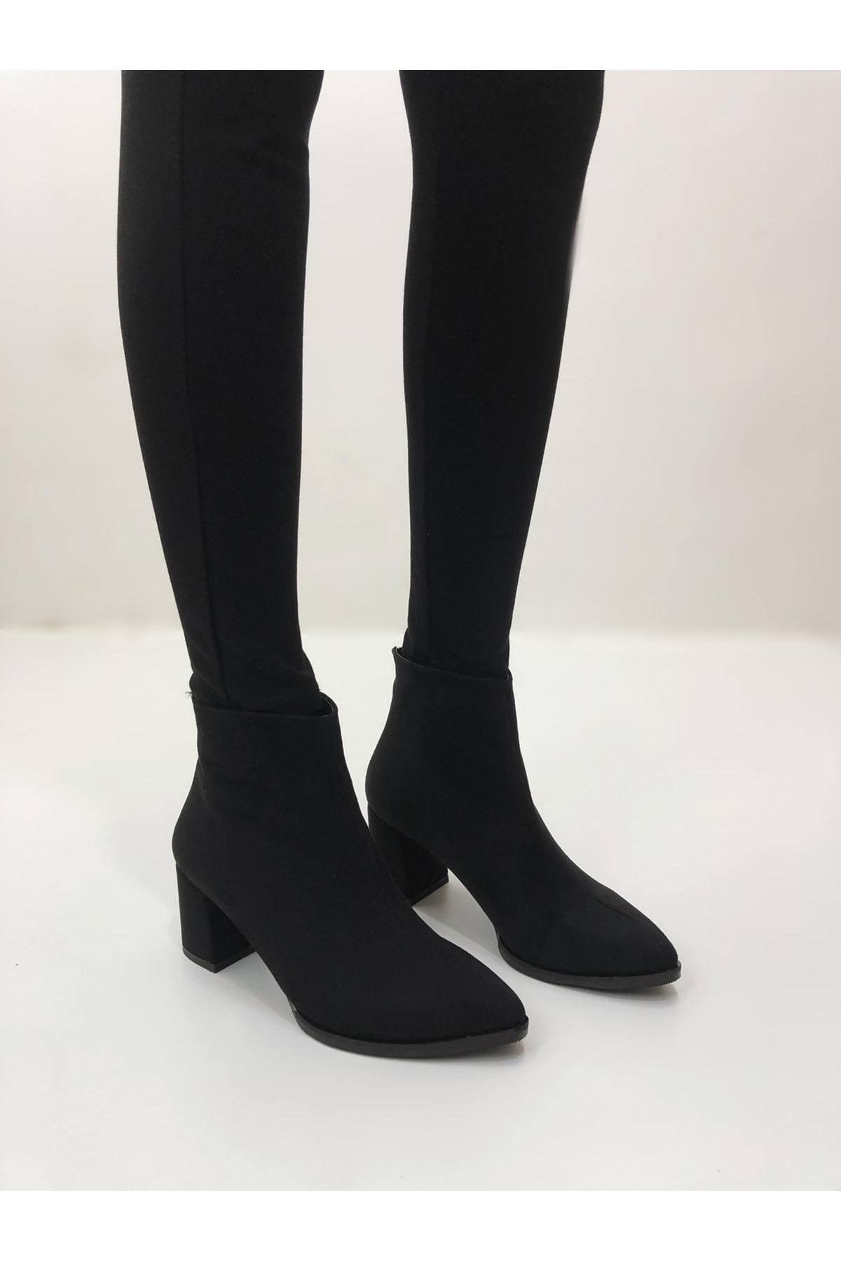 BasmakShoes Kadın Siyah Süet Topuklu Bot 2