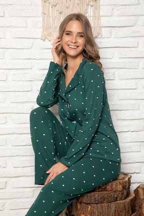 ELİTOL Kadın Yeşil Pamuklu Likrali Düğmeli Pijama Takim