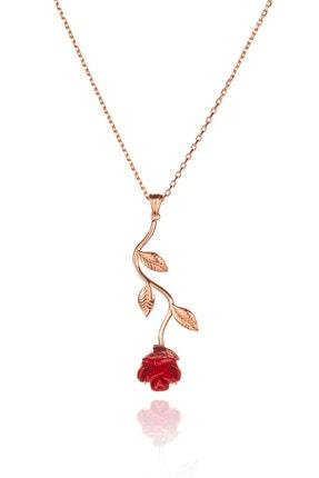 Anı Yüzük Kadın Kırmızı 925 Ayar Gümüş Gül Kolye