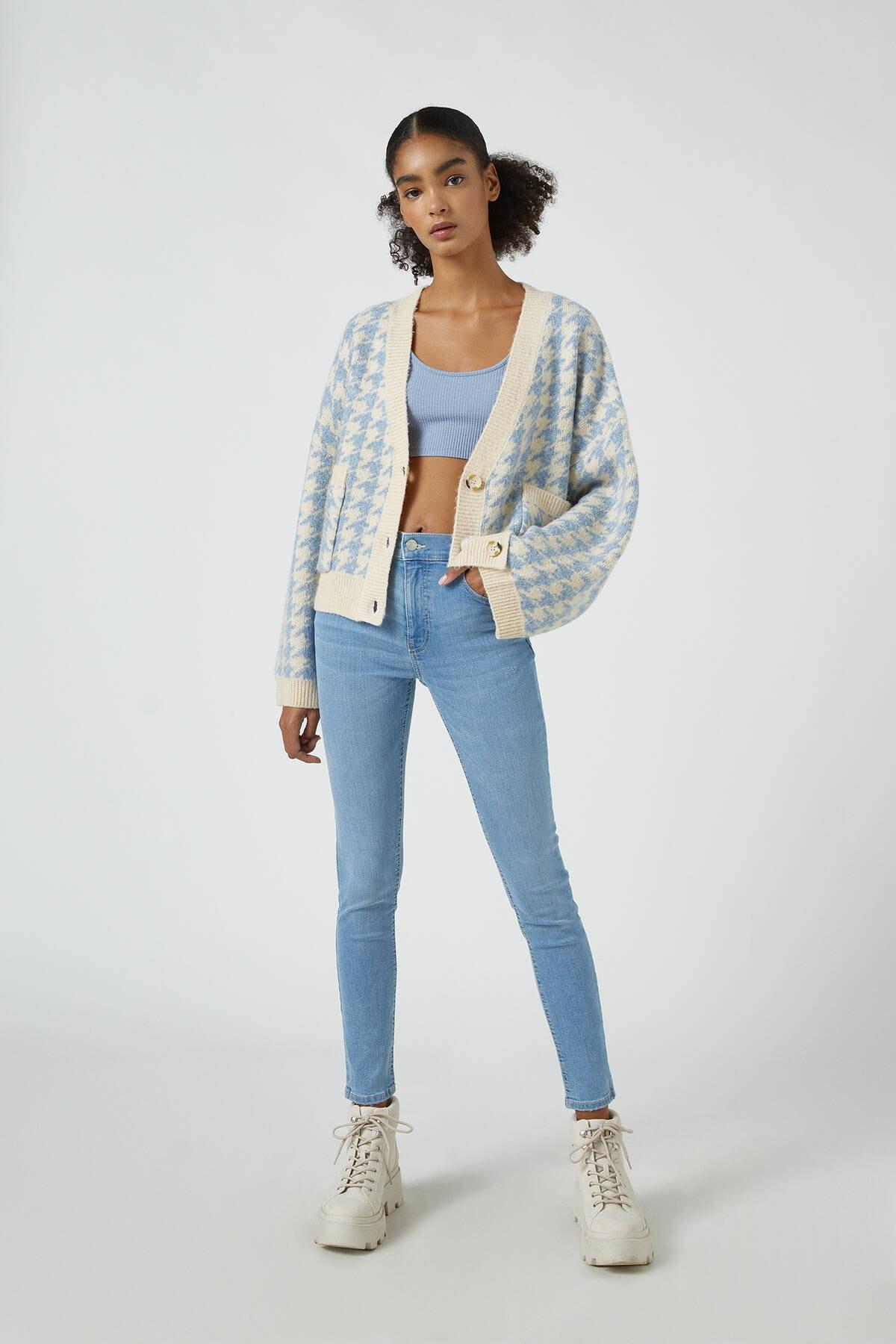 Pull & Bear Kadın Açık Mavi Orta Bel Skinny Fit Jean 05682320