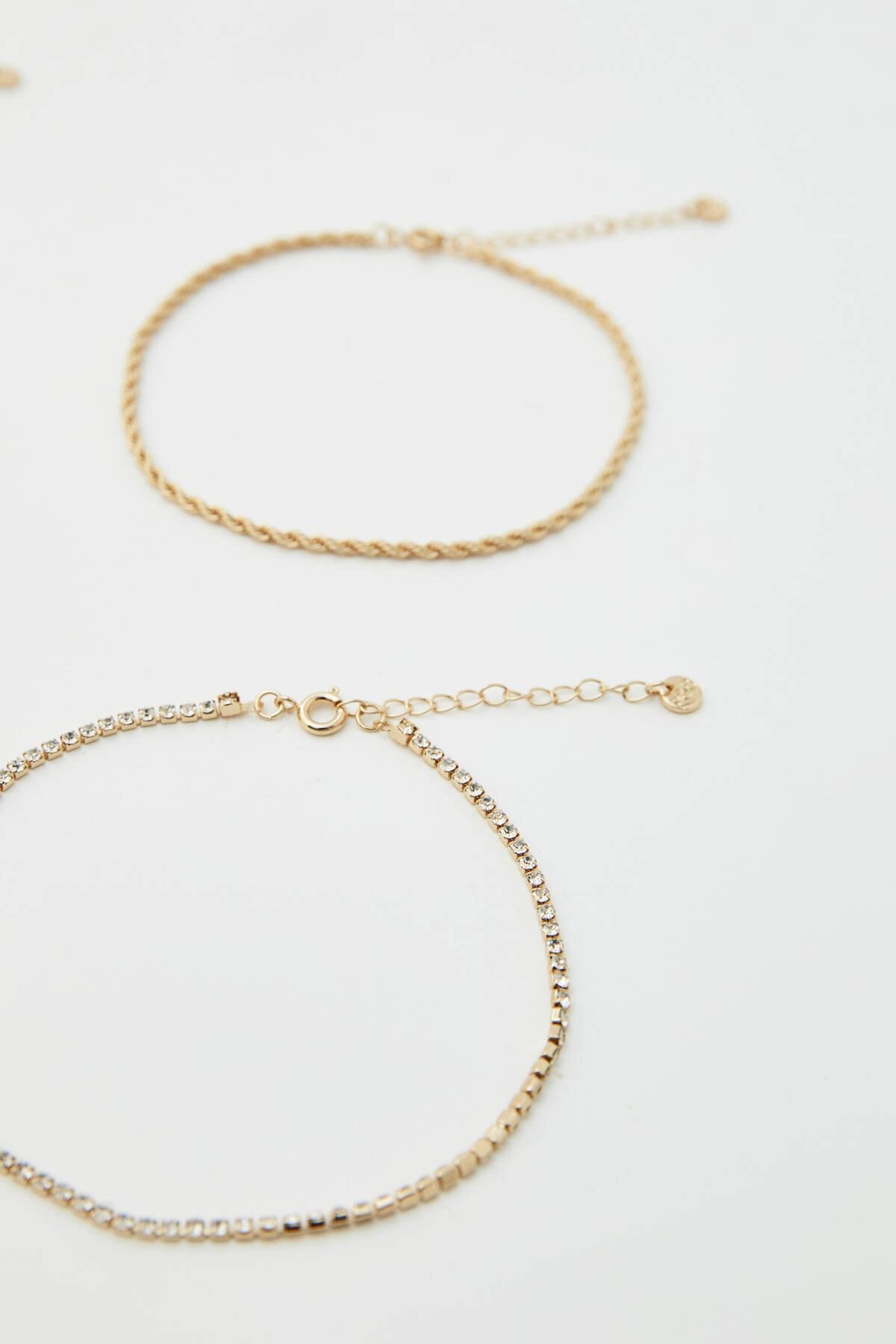 Pull & Bear Kadın Altın Rengi Yıl Detaylı Altın Rengi Halhal Seti 09996381 2