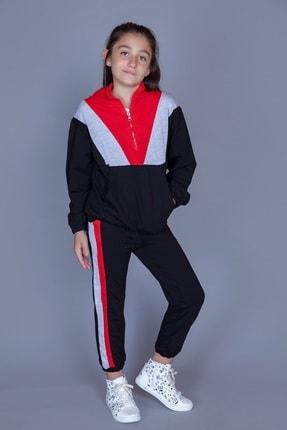Toontoy Kız Çocuk Kırmızı Garnili Eşofman Takım
