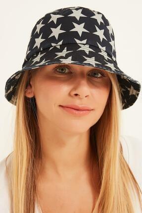 Y-London 13379 Yıldız Desenli Lacivert Bucket Şapka