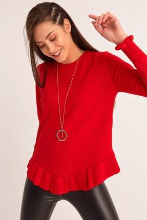Fulla Moda Kadın Kırmızı Altı Fırfırlı Triko Kazak