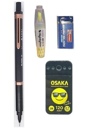 Adel Blackline 0.7 Uçlu Kalem / 120 Li Uç / Mini Fosforlu Kalem /2b Silgi Pembe Kasa
