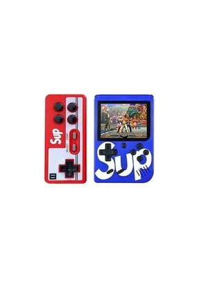 SUP Çift Kol 400 Nostalji Oyunlu Mini Atari Gameboy - Gamebox Oyun Konsolu - Mavi