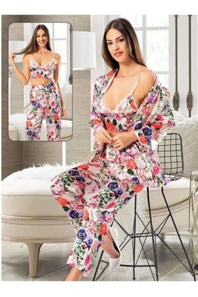 Emay Nilay 3lü Çiçekli Saten Kadın Pijama 2090