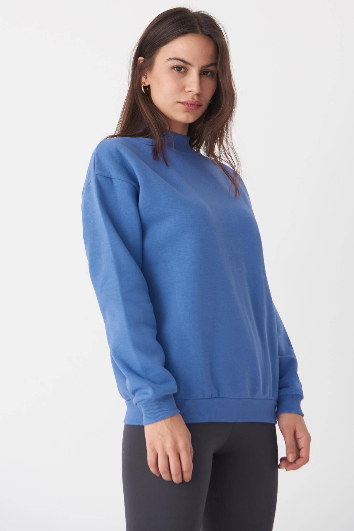 Addax Kadın Mavi Yarım Balıkçı Yaka Sweatshirt S8606 - B4 - B5 ADX-0000019754 2