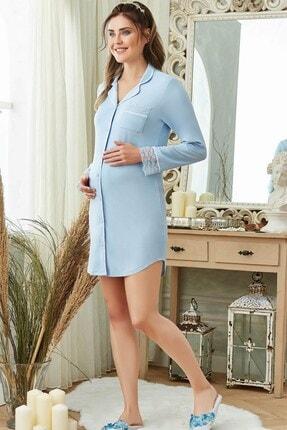 Lohusa Sepeti Kadın Mavi Dior Sabahlıklı Lohusa Gecelik Takımı 200200