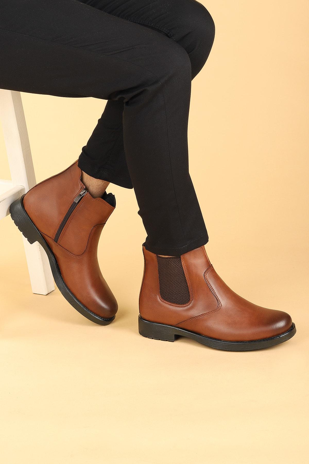 Ayakland Erkek Taba Termo Taban İçi Kürk Görünümlü Fermuarlı Bot Ayakkabı 650 1